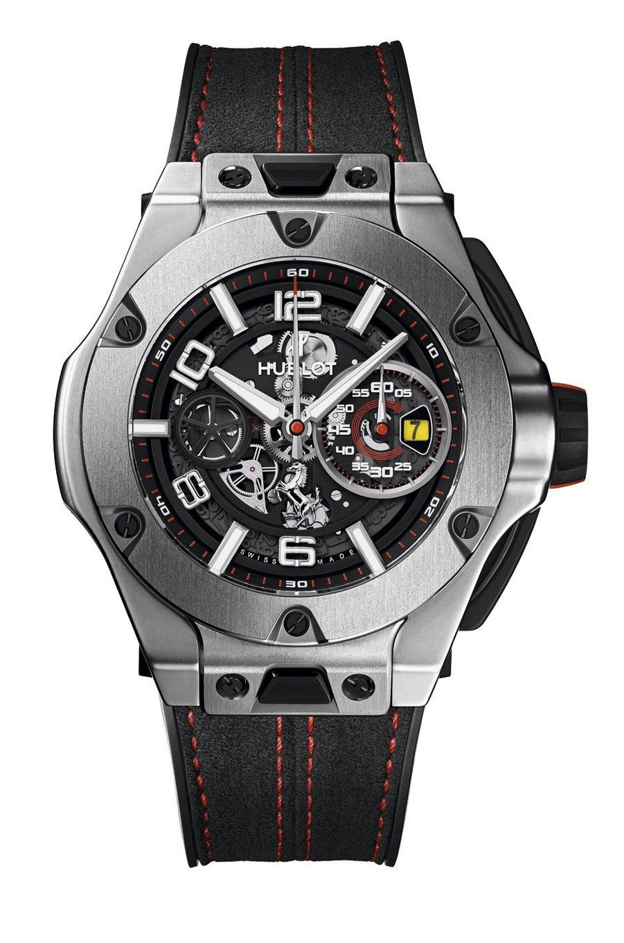 Boîte en titane, 45 mm de diamètre, mouvement automatique avec chronographe et date par guichet, bracelet en alcantara avec surpiqûres. Série limitée à 1 000 exemplaires. 259 000 €.