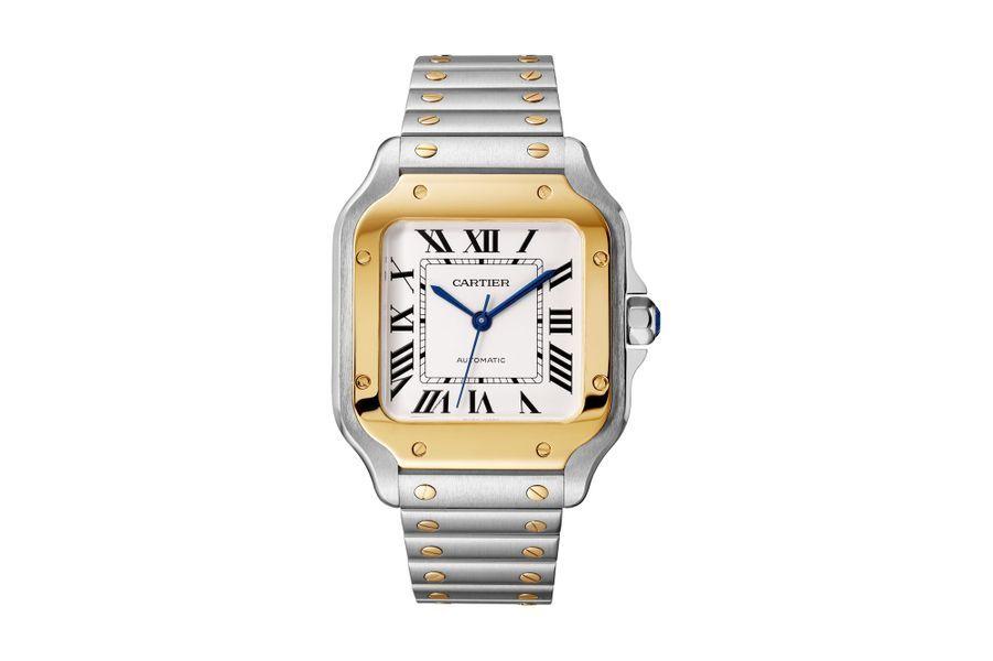 Santos en acier et or jaune, 35 x 35 mm, mouvement automatique, bracelet en acier et or jaune. 8 800 €. Cartier.