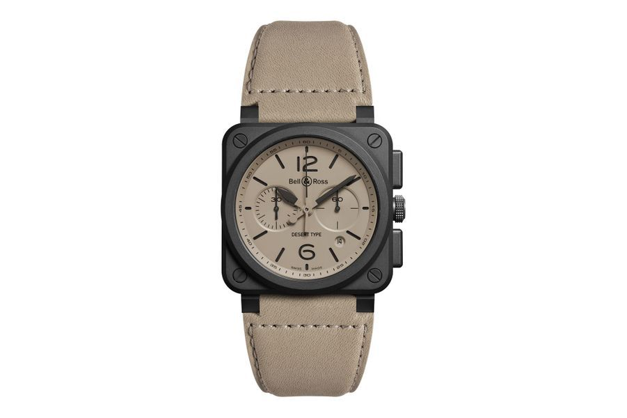 Chronographe BR 03-94 Desert Type, boîte en acier PVD noir, 42 x 42 mm, mouvement automatique, bracelet en cuir vieilli. Bell & Ross, 4 990 €. Série limitée à 250 exemplaires.