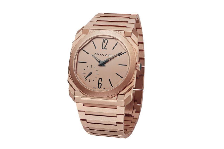 Octo Finissimo, boîte en or rose sablé, 40 mm de diamètre, mouvement automatique, bracelet en or rose sablé. Bulgari, 43 000 €.