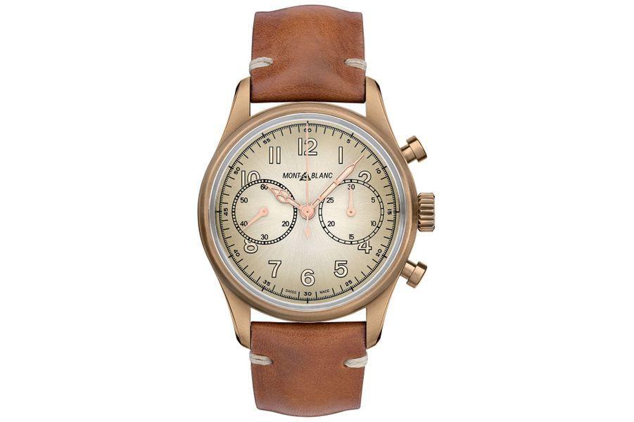 Chronographe 1858, boîte en bronze, 42 mm de diamètre, mouvement automatique, bracelet en cuir. Montblanc, 4 700 €.