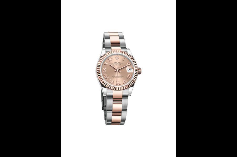 Datejust en or rose et acier, 31 mm de diamètre, mouvement automatique, bracelet en or rose et acier. Rolex. 9500 €.