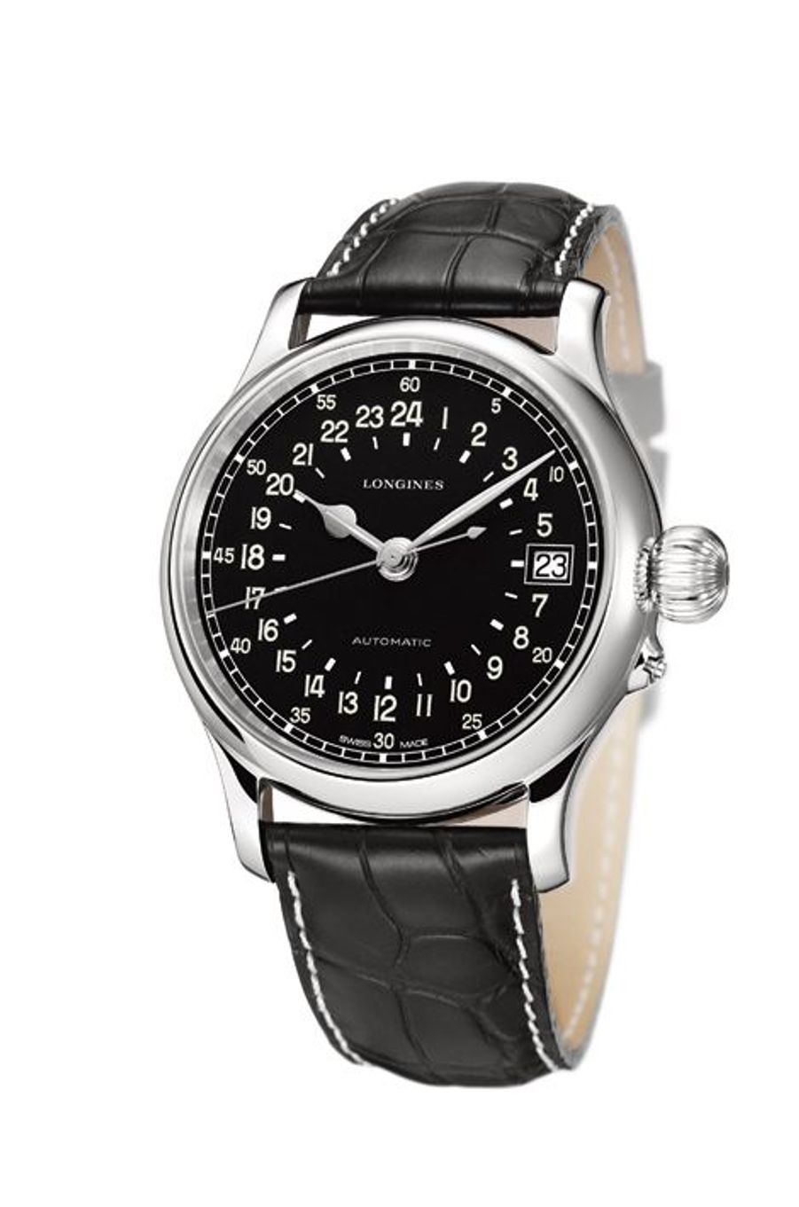 Longines Twenty-Four Hours en acier, 47, 5 mm de diamètre, mouvement automatique, bracelet en alligator. 2 800 €. Longines.