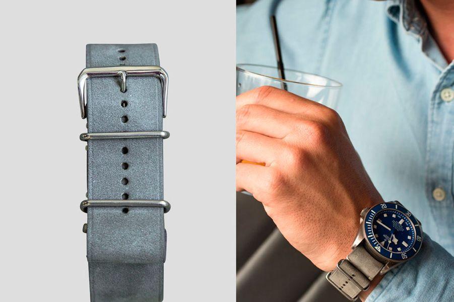 Un bracelet NATO en cuir gris extrêmement souple disponible en 18, 20 et 22 mm de largeur, 89 €.