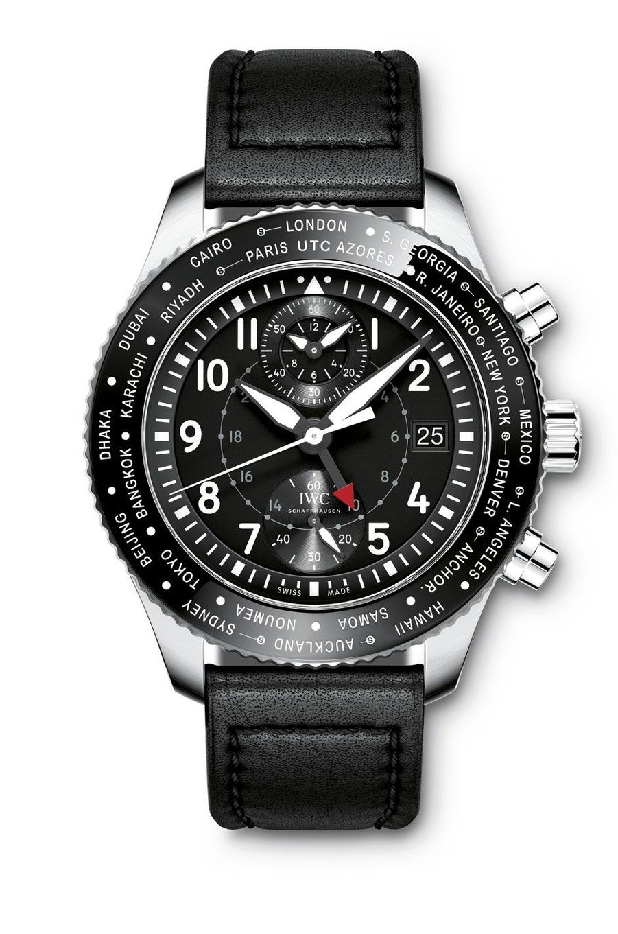 IWC.Montre d'aviateur Timezoner.L'horloger a introduitla fonction heure universelle au sein de sa collectionde montres militaires, qui allient robustesse, fiabilitéet lisibilité : trois qualités recherchées par les aventuriers.Boîte en acier, 46 mm de diamètre, mouvement automatique, bracelet en cuir. 13 100 €..