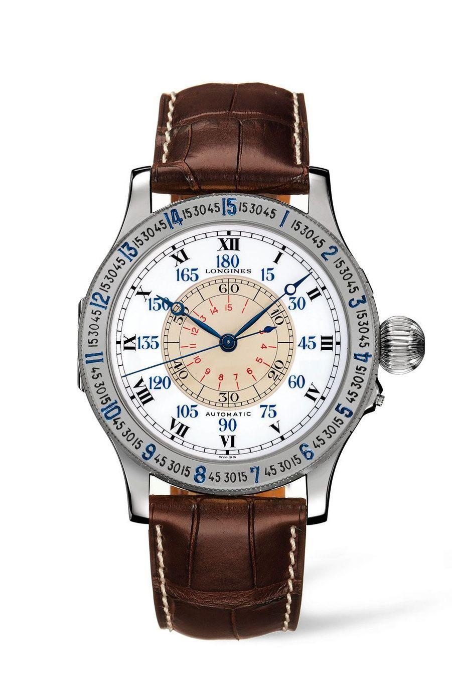 Montre Lindbergh Angle Horaire. Boîte en acier, 47, 5 mm de diamètre, mouvement automatique, bracelet en alligator. 4 200 €. Longines.