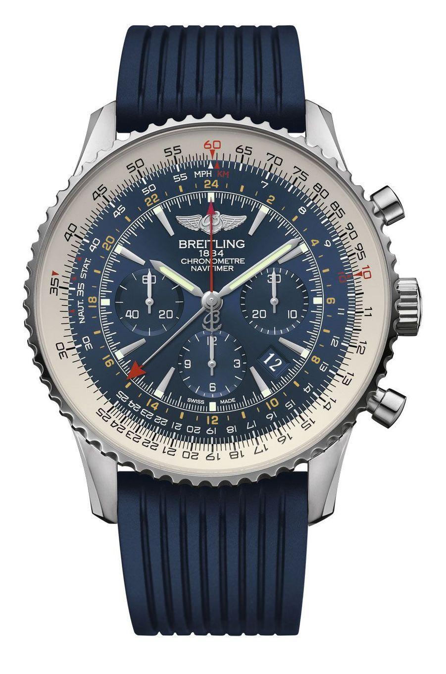 Navitimer GMT Horora Blue. Boîte en acier, 48 mm de diamètre, mouvement automatique, bracelet en caoutchouc. 8 450 €. Breitling.