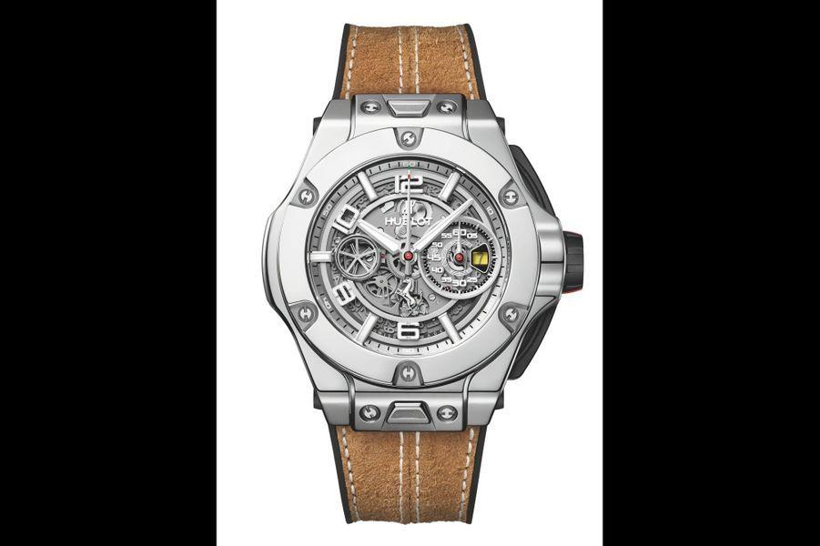 Big Bang Ferrari 1 000 GP en or blanc, 45 mm de diamètre, mouvement chronographe automatique squelette avec date par guichet, bracelet en cuir de pécari. Série limitée à 20 exemplaires. Hublot. 51 900 €.