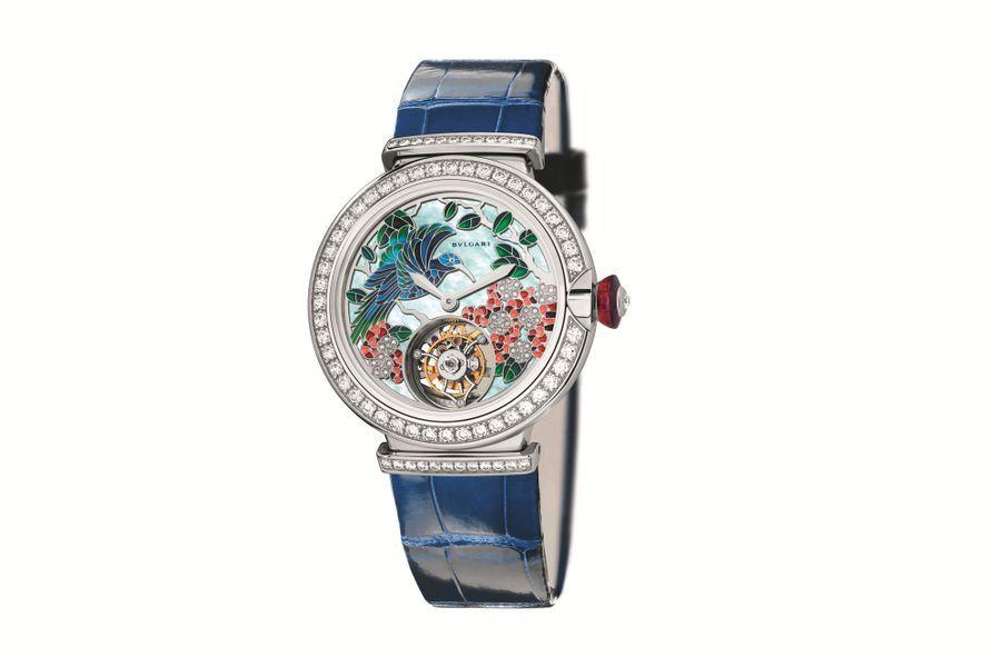 Lvcea Tourbillon en or blanc et diamants, cadran en peinture miniature, bracelet en alligator. Bulgari.