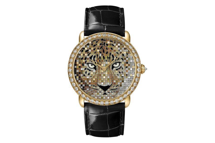 Ronde Louis Cartier Regard de Panthère en or jaune et diamants, cadran en marqueterie de nacre, bracelet en alligator. Cartier. Série limitée à 30 exemplaires.