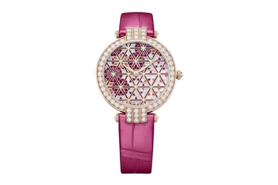 Premier Precious en or rose et diamants, cadran en micro-mosaïque de verre et diamants, bracelet en alligator. Harry Winston. Série limitée à 30 exemplaires.