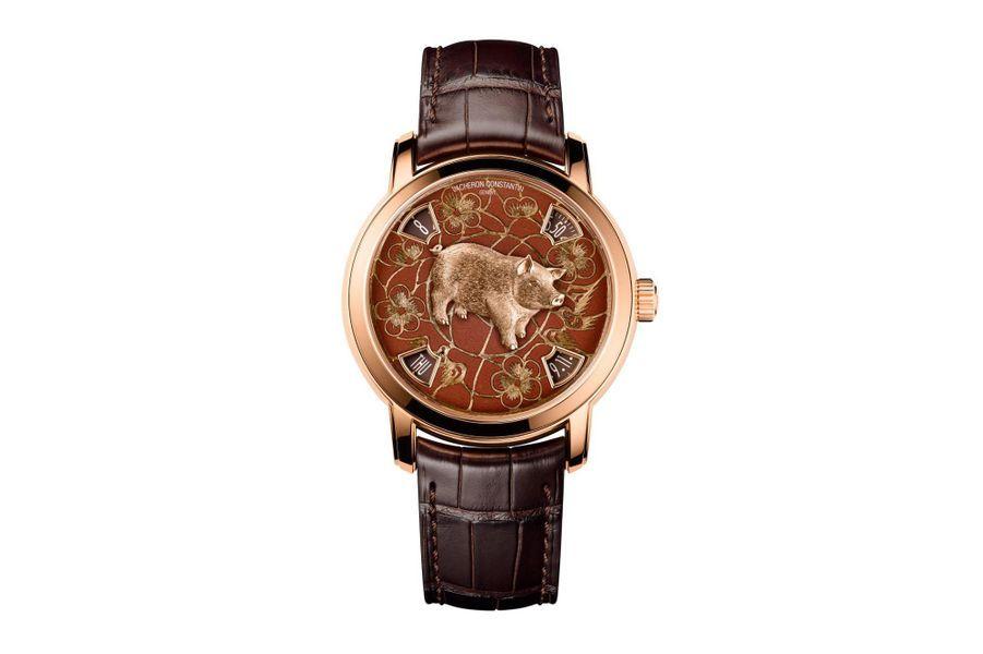 La Légende du Zodiac Chinois en or rose, cadran en émail Grand Feu, bracelet en alligator. Vacheron Constantin. Série limitée à 12 exemplaires.