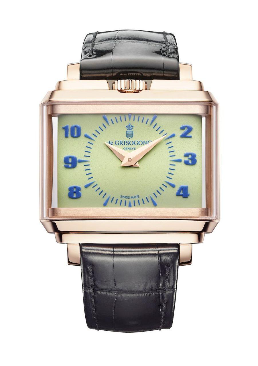 New Retro, boîte en or rose, 55 mm x 44 mm, bracelet en alligator, mouvement automatique. De Grisogono. 27 800 €.