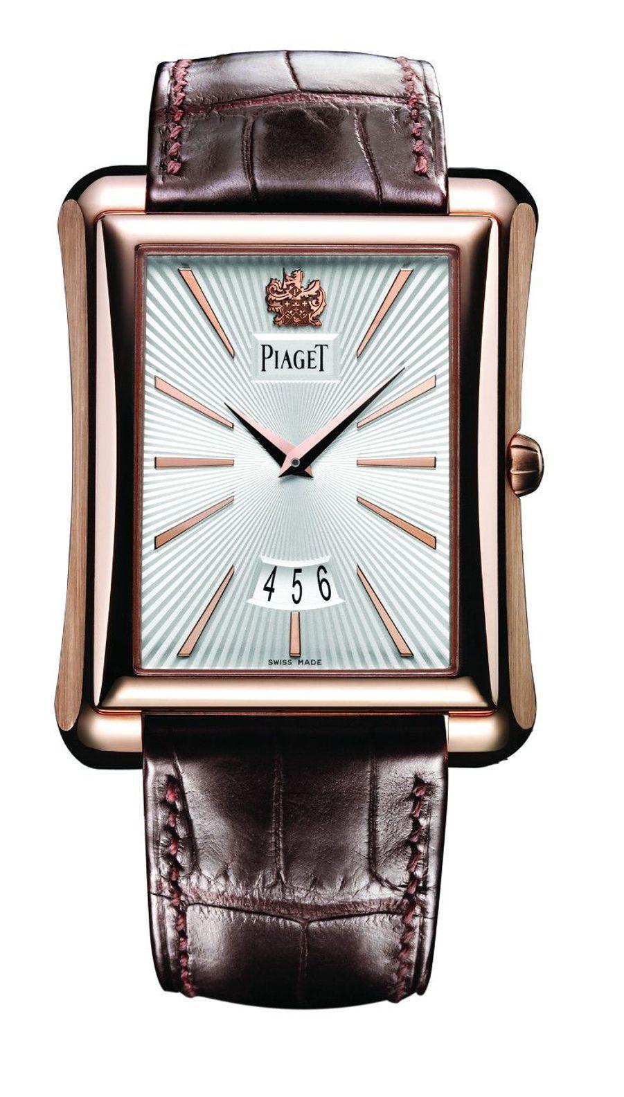 Emperador Grand Modèle, boîte en or rose, 46 mm x 36 mm, bracelet en alligator, mouvement automatique. Piaget. 25 000 €.
