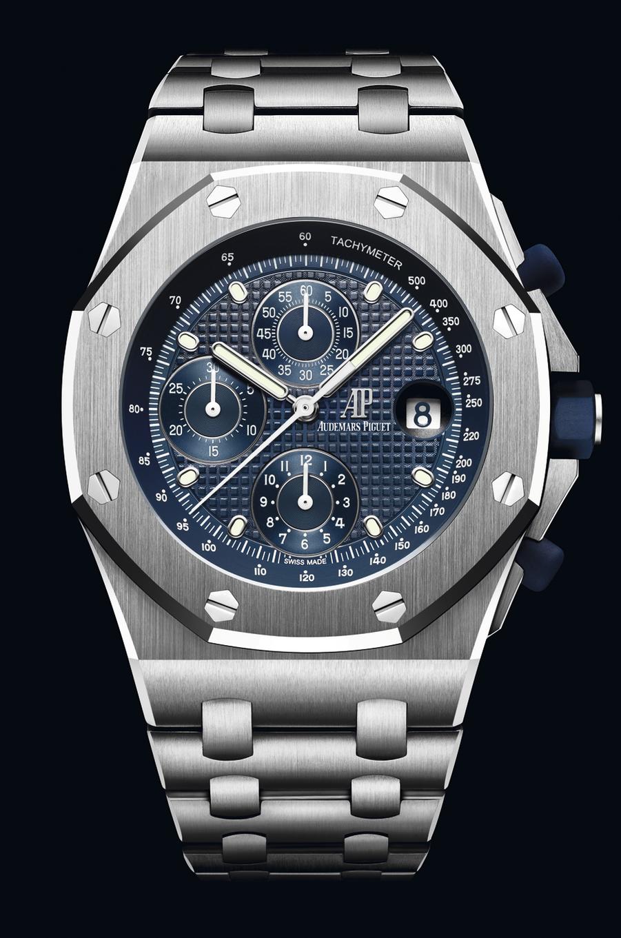 Chronographe Royal Oak Offshore en acier, 42 mm de diamètre, mouvement automatique, bracelet en acier. 28 100 €. Audemars Piguet.