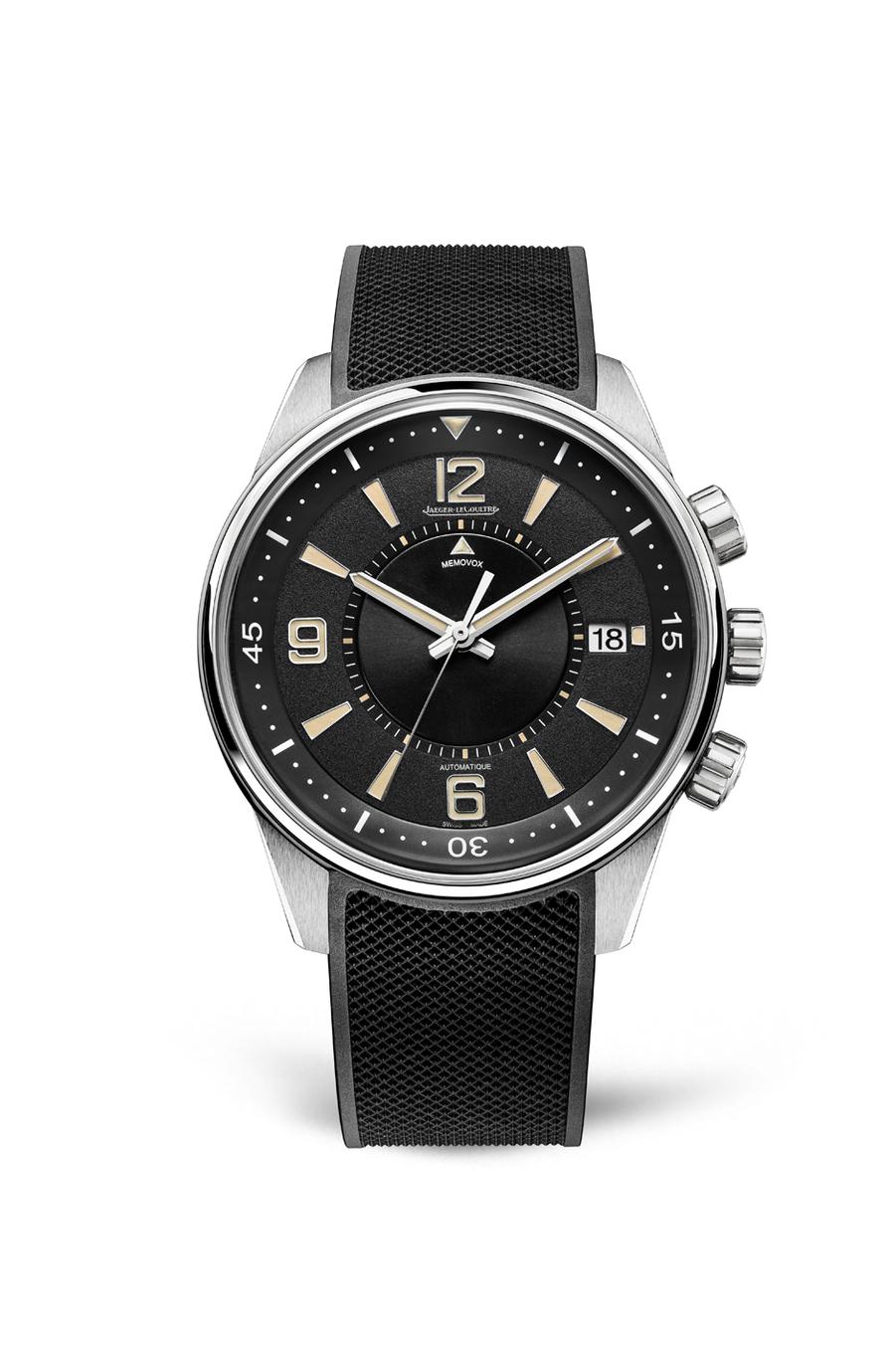 Polaris Memovox en acier, 42 mm de diamètre, mouvement automatique avec fonction réveil, bracelet en caoutchouc. 12 800 €. Jaeger-LeCoultre. Série limitée à 1 000 exemplaires.