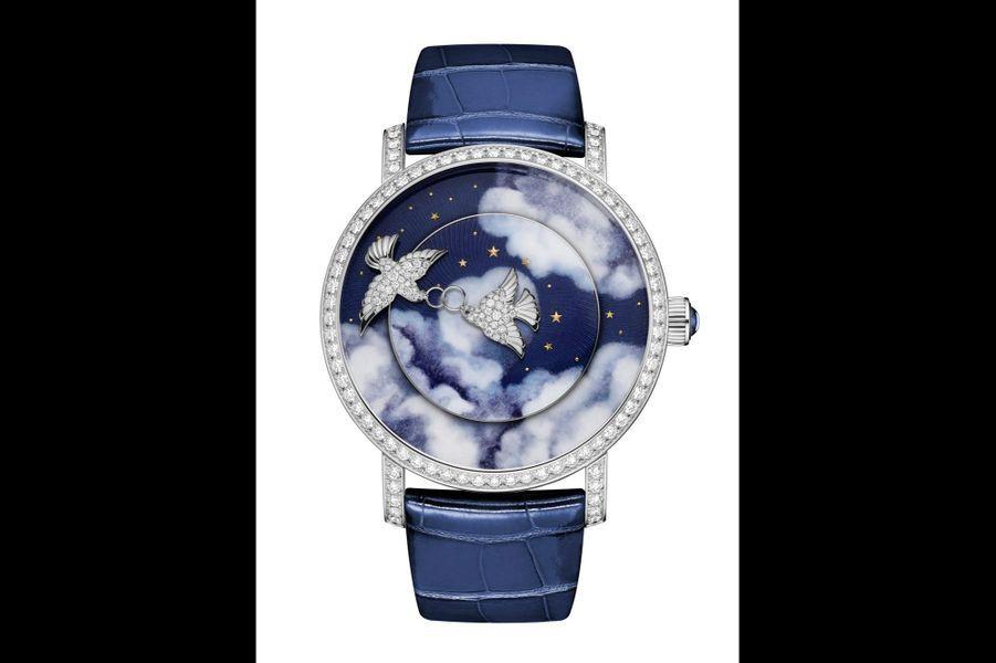 Complication Créative Colombes en or blanc et diamants, 41mm de diamètre, mouvement automatique, bracelet en alligator. 125100 €. Chaumet.