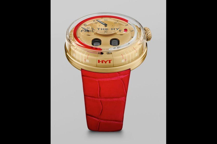 Ho Feel the Hyt en or jaune, 48, 8 mm de diamètre, mouvement à remontage manuel, bracelet en alligator. 59 000 €. HYT.