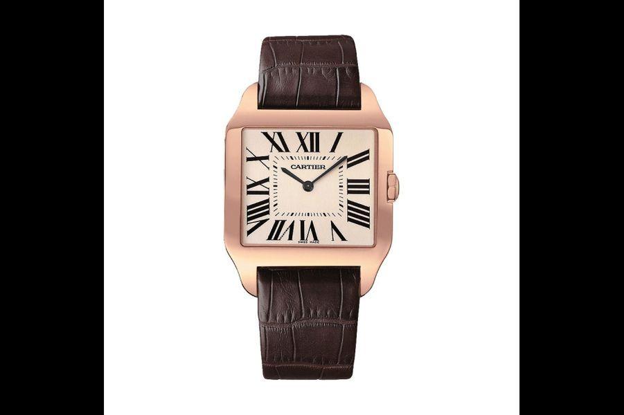 Santos-Dumont en or rose, 44, 6 mm x 34, 6 mm, mouvement à remontage manuel, bracelet en alligator. 16 700 €. Cartier.