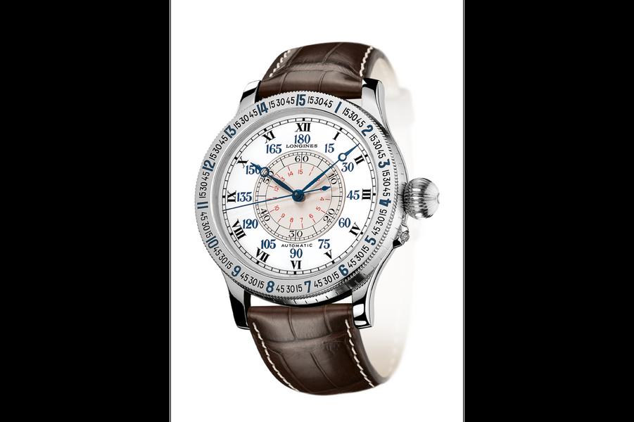 Montre Lindbergh Angle Horaire en acier, 47, 5 mm de diamètre, mouvement automatique, bracelet en cuir. Série limitée à 80 exemplaires. 4 200 €. Longines.