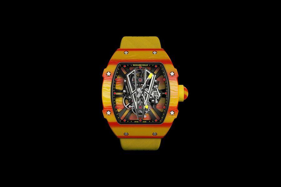 Tourbillon RM 27-03 Rafael Nadal en quartz TPT, 47, 8 mm x 40, 3 mm, mouvement à remontage manuel, bracelet en toile renforcée. Série limitée à 50 exemplaires. 792 500 €. Richard Mille.