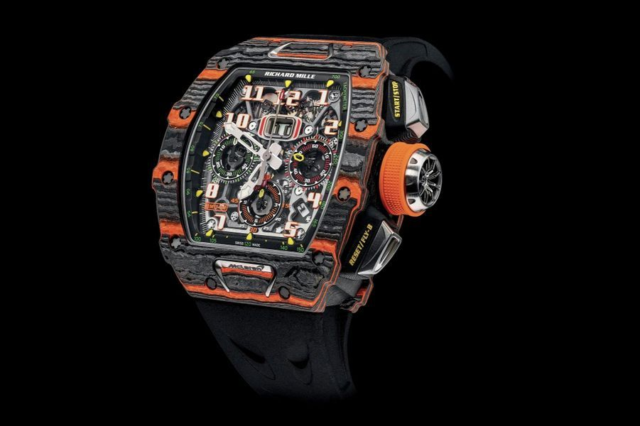 Lot 34, Richard Mille RM 11-03 Automatic Flyback chronograph McLaren, adjugé à 294 000 €.