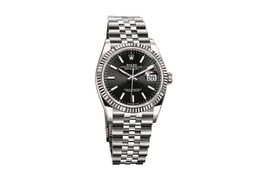 Datejust 36 en acier, lunette en or gris, 36 mm de diamètre, mouvement automatique, bracelet en acier. 7 500 €.