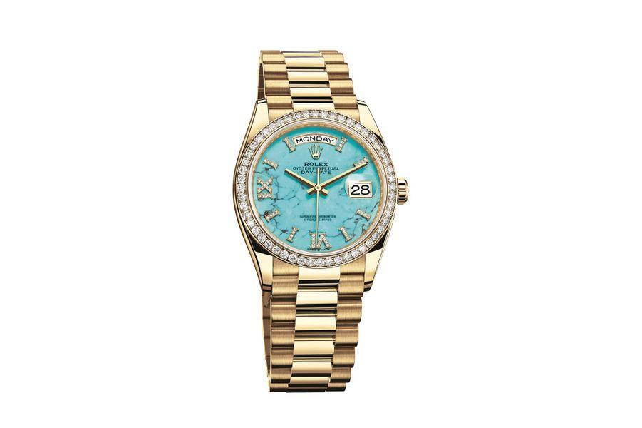 Day-Date 36 en or jaune, lunette en sertie de diamants, 36 mm de diamètre, mouvement automatique, bracelet en or jaune. 39 200 €.