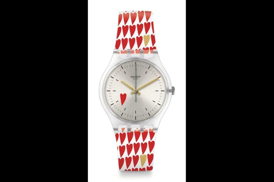 All You Need is Hearty Love en plastique, cadran guilloché soleil, 34 mm de diamètre, mouvement à quartz, bracelet en silicone. Swatch. 70 €.
