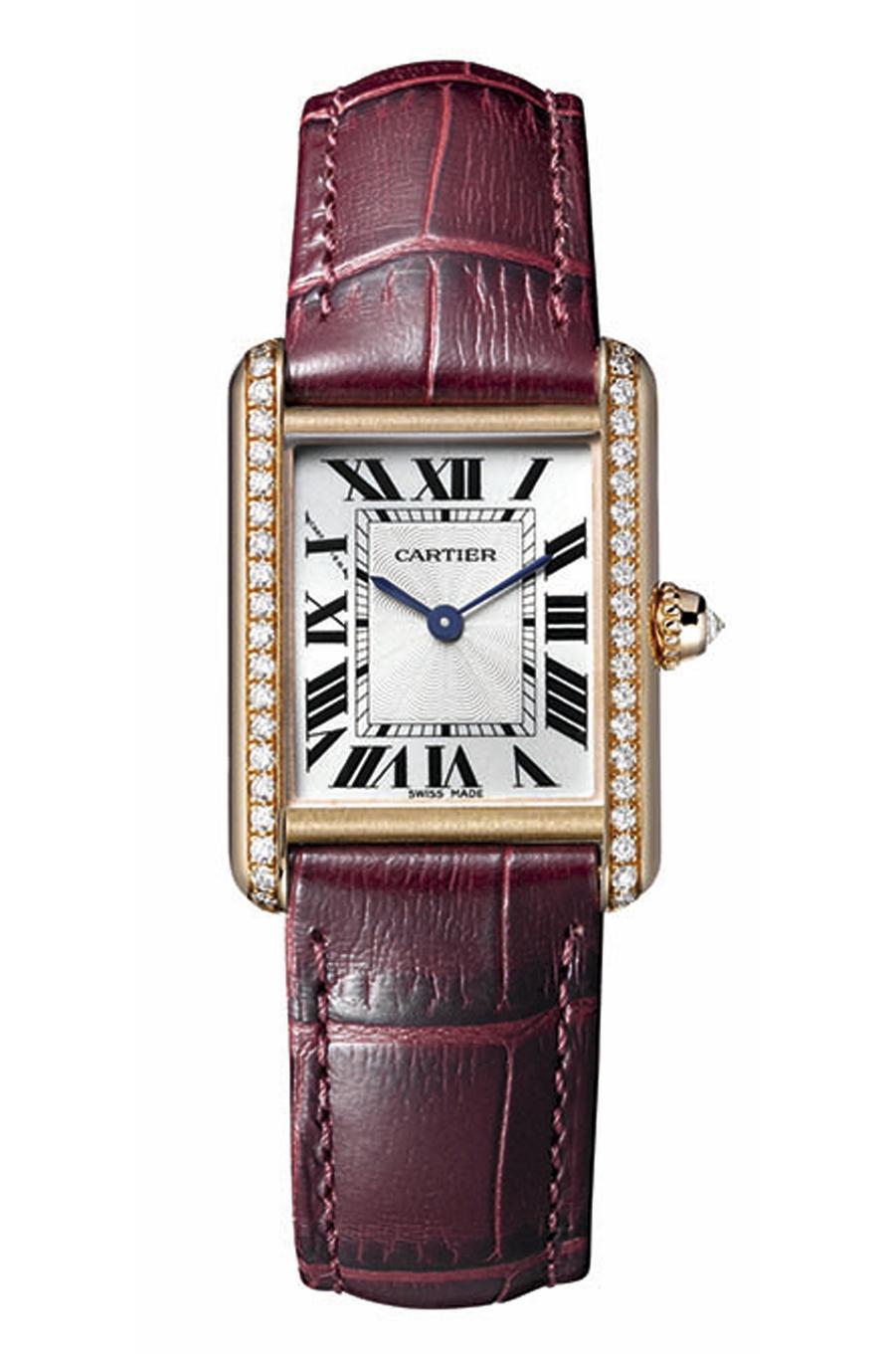 Tank Louis Cartier petit modèle en or rose et diamants, 16 200 €.