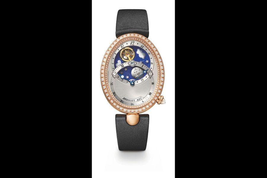 Reine de Naples Jour-Nuit en or rose, 40 x 32 mm, lunette sertie de diamants, cadran guilloché, mouvement automatique, bracelet en satin. Breguet. 119 700 €.