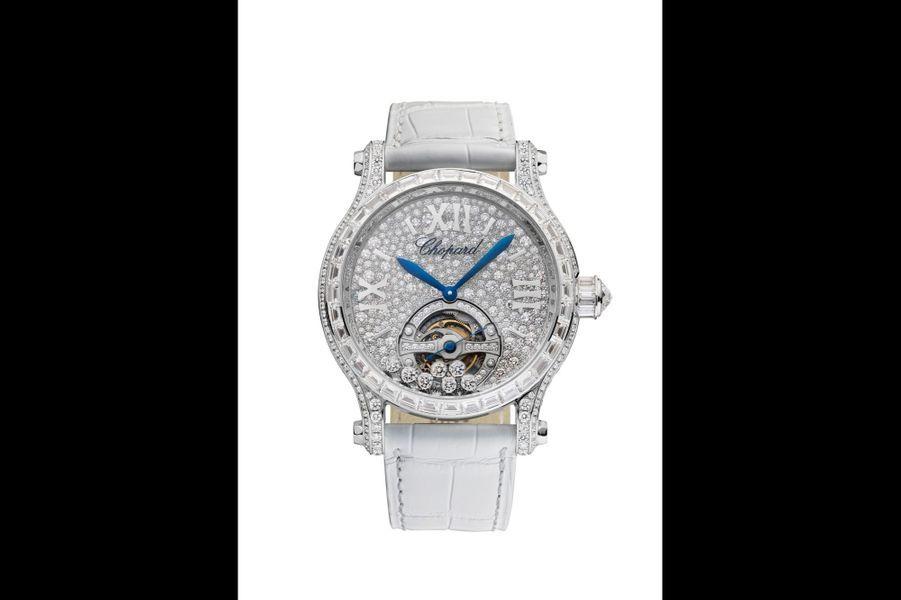 Happy Sport Joaillerie en or blanc et diamants, 42 mm, cadran serti de diamants, mouvement à remontage manuel, bracelet en alligator. Chopard. 396500 €.