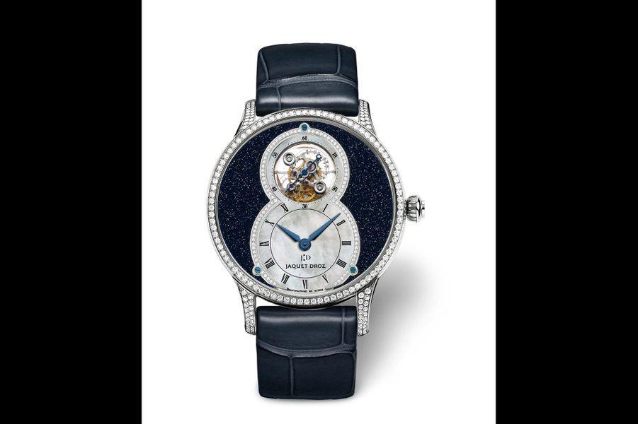 Grande Seconde Tourbillon Nuit en or gris, 39 mm, lunette et anses serties de diamants, cadran en aventurine, mouvement automatique, bracelet en alligator. Jaquet Droz. 117800 €.