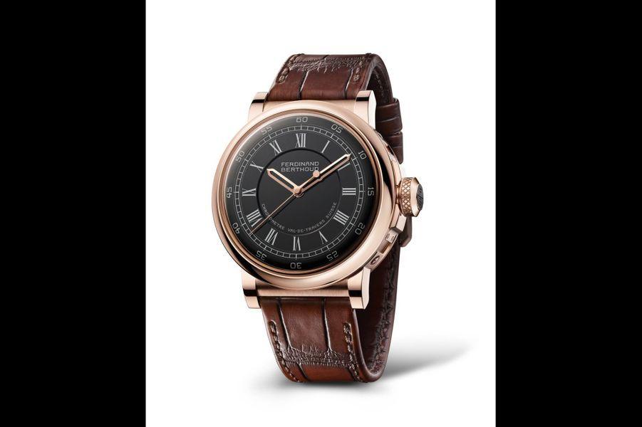 Chronomètre FB 2RE en or rose, 44 mm de diamètre, cadran noir, mouvement à remontage manuel, bracelet en alligator. Ferdinand Berthoud. 224 500 €.