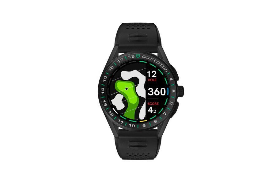 Connected Golf Edition en titane DLC, lunette en céramique, 45 mm de diamètre, mouvement connecté compatible avec Wear OS by Google et l'Apps TAG Heuer Sport, bracelet interchangeable en caoutchouc. 2400 euros. TAG Heuer.