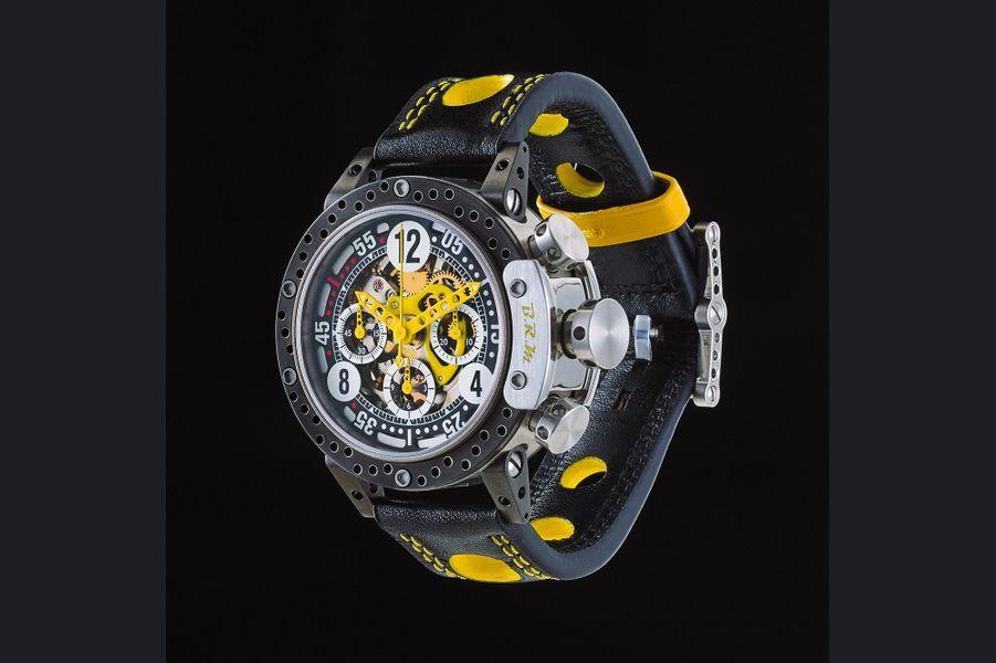 DDF12-44 en titane gris, 44 mm de diamètre, mouvement chronographe squelette automatique, bracelet en cuir perforé. BRM. 11 900 €.