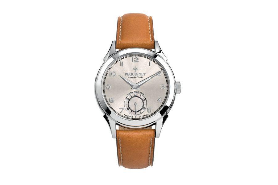 Manuelle Royale en acier, 42 mm de diamètre, mouvement à remontage manuel avec petite seconde, bracelet en cuir. Pequignet. 2 850 €.
