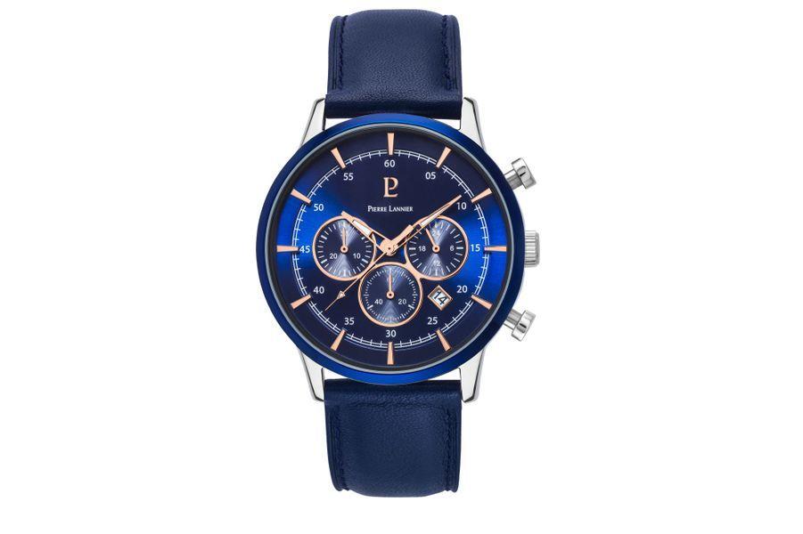Capital en acier, 43 mm de diamètre, mouvement chronographe à quartz avec date, bracelet en cuir. Pierre Lannier. 159 €.