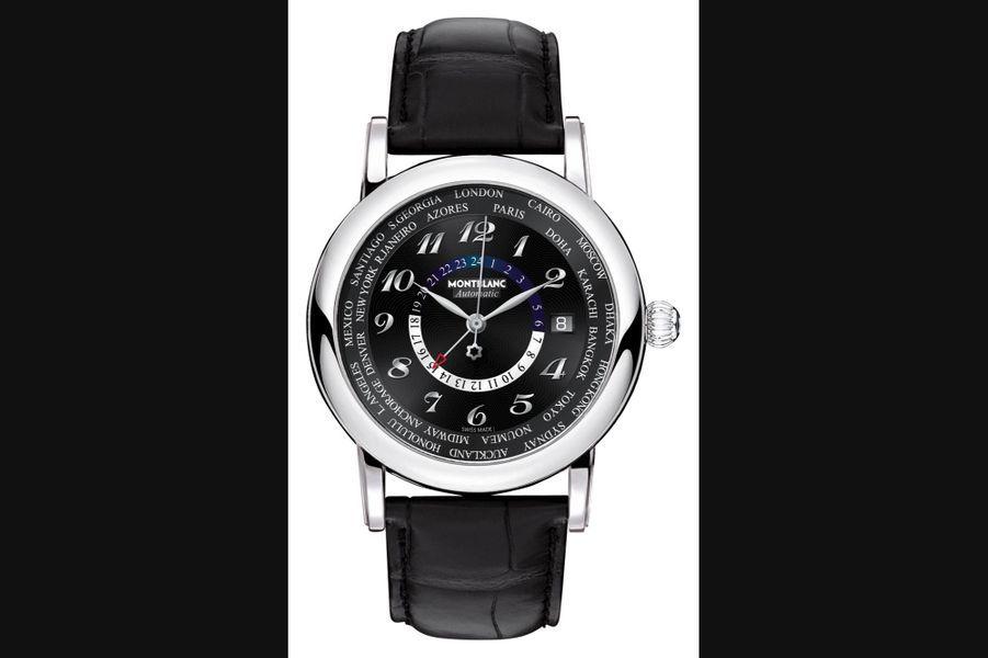 Star World-Time GMT en acier, 42 mm de diamètre, mouvement automatique, bracelet en alligator. Montblanc. 4 300 €.