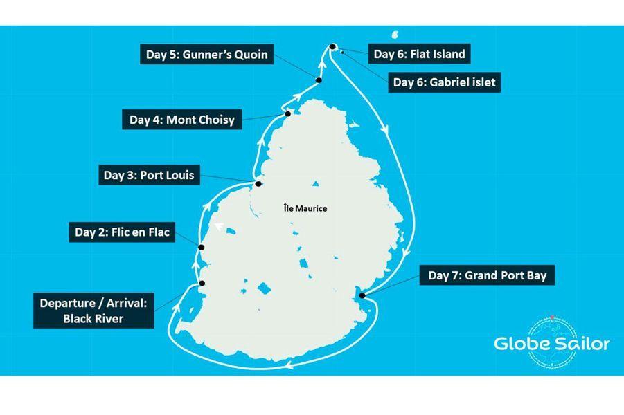 L'itinéraire autour de l'île Maurice proposé par Sea Spirit.