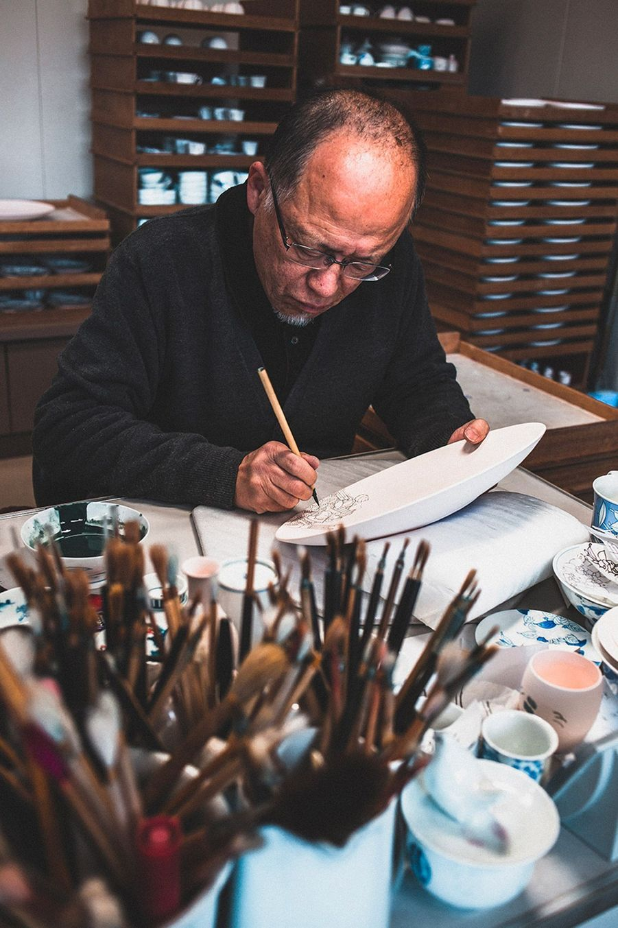 "artiste peintre sur pocelaine, boutique atelier ""Hataman Toen"", Okawachiyama"