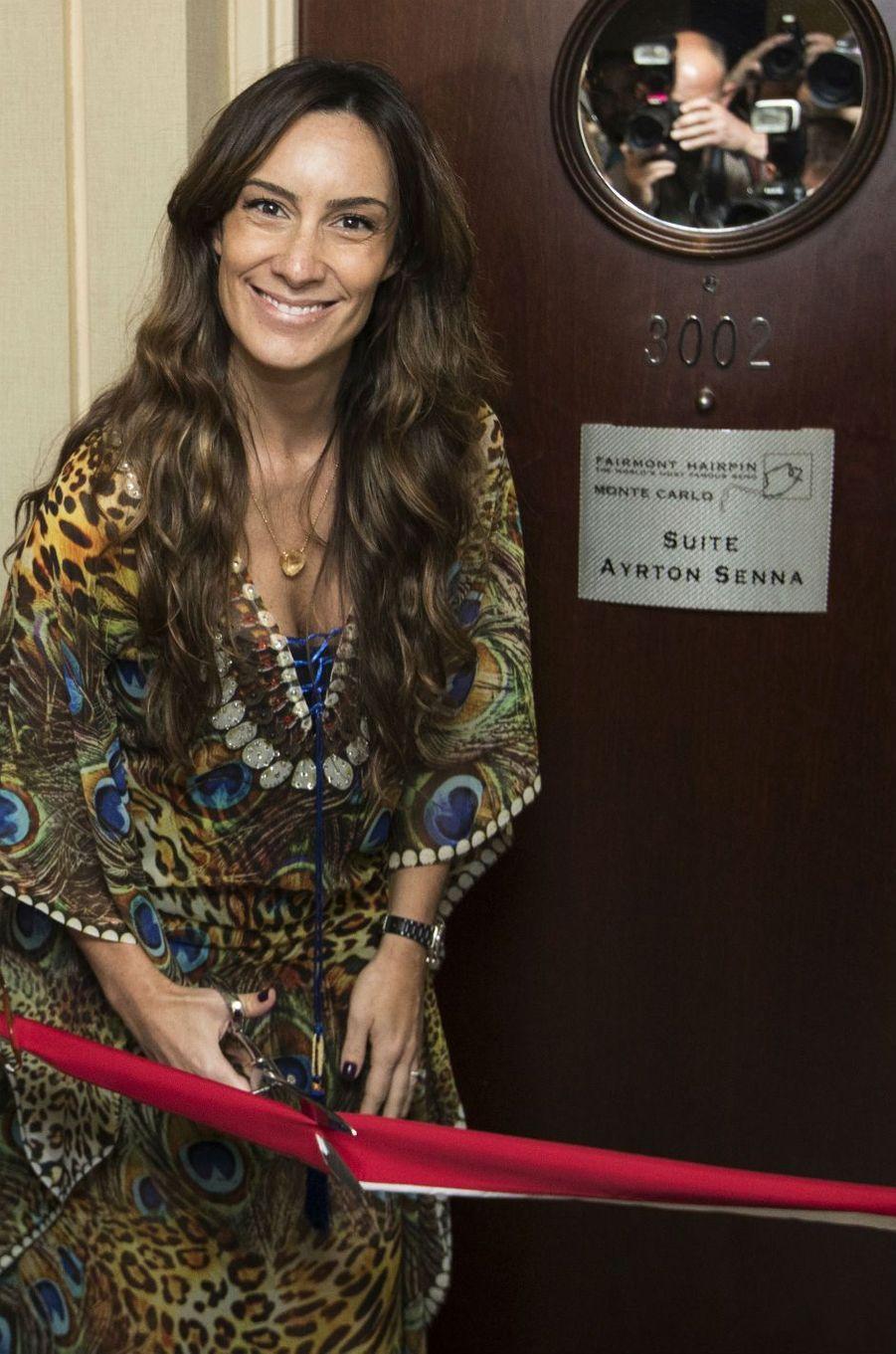 Bianca Senna, la nièce d'Ayrton Senna, inaugure la Suite Ayrton Senna au Fairmont Monte-Carlo.