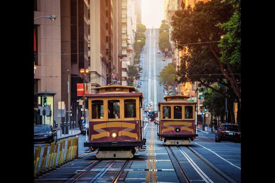 Les fameux « cable cars » sur Market Street.