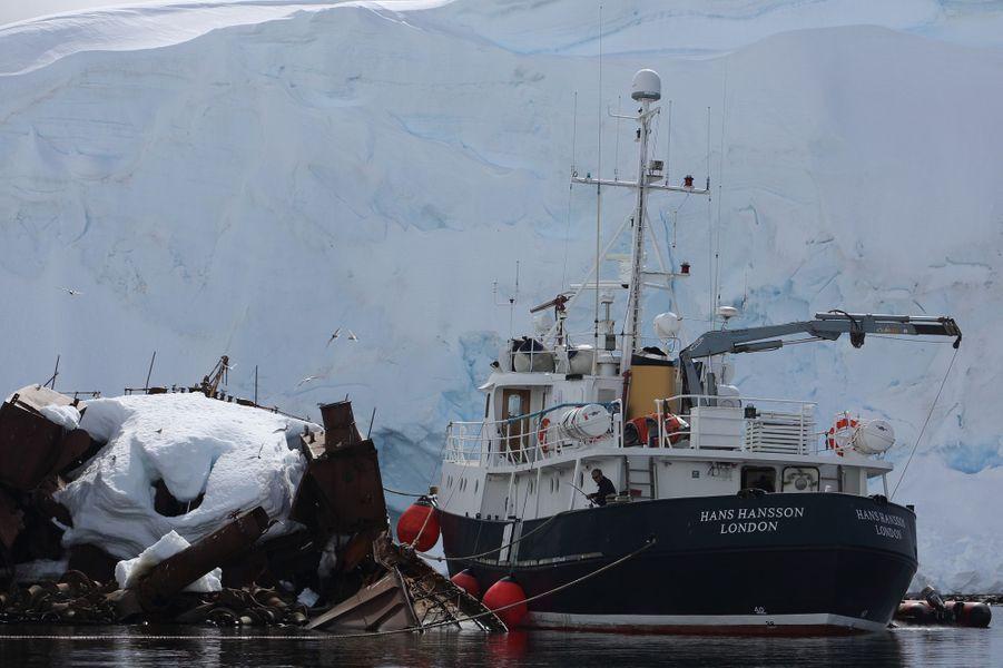 """22 décembre, île Enterprise. Le capitaine (ici en train de pêcher) vient d'amarrer le Hans Hansson à l'épave Guvernören, un ancien bateau-usine baleinier qui brûla en 1915. C'était un navire high-tech, """"ultra performant"""" : lors de l'été 1913-1914, ses fours cuisent 544 baleines, obtenant 22 610 barils d'huile."""