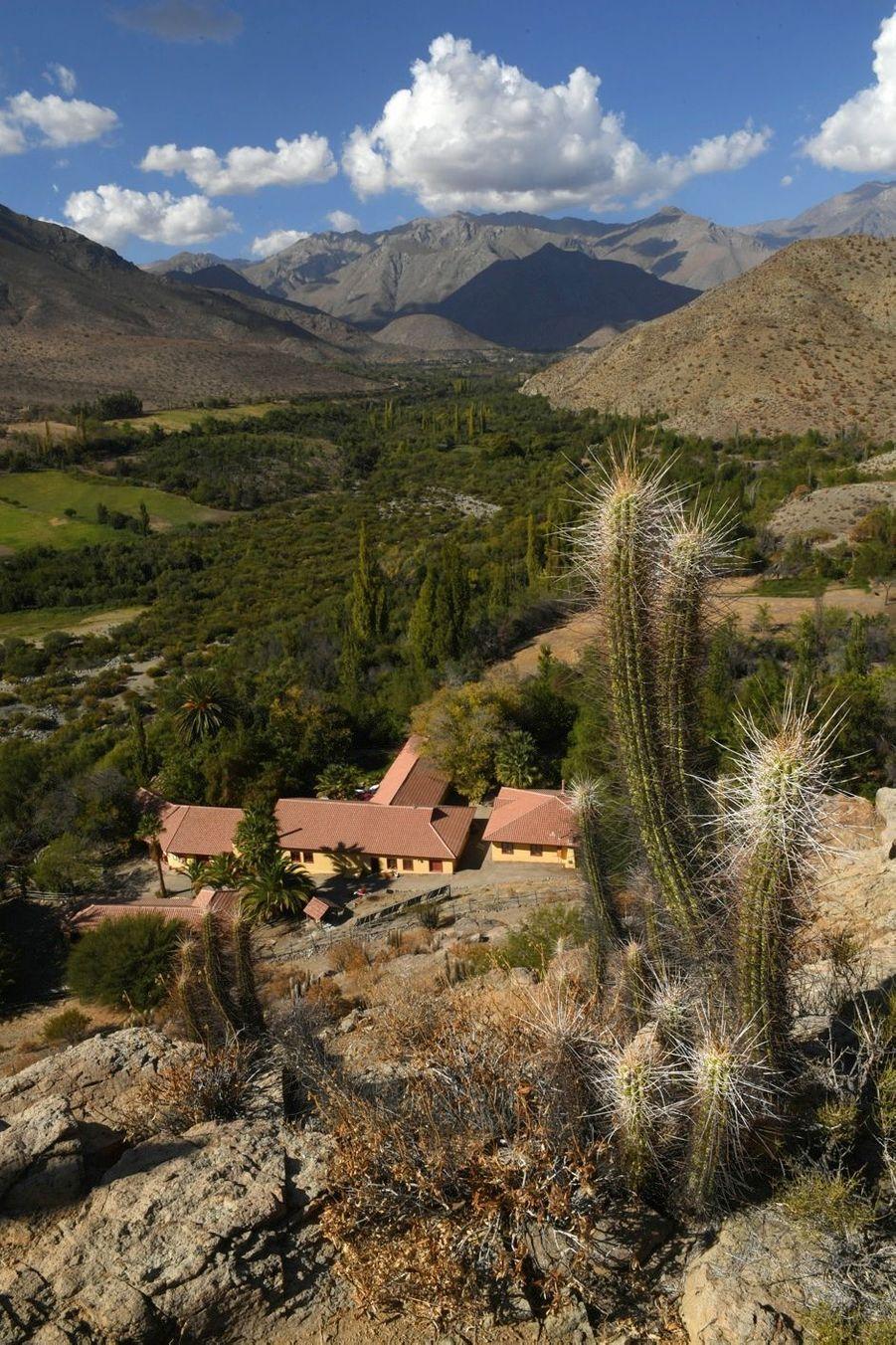 L'hacienda Los Andes, vue depuis le plateau d'où on observe le ciel la nuit en compagnie d'un expert