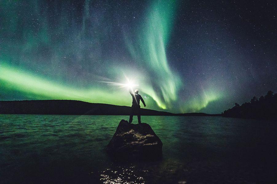 Ce week-end, le spectacle des aurores boréales était saisissant en Laponie finlandaise.