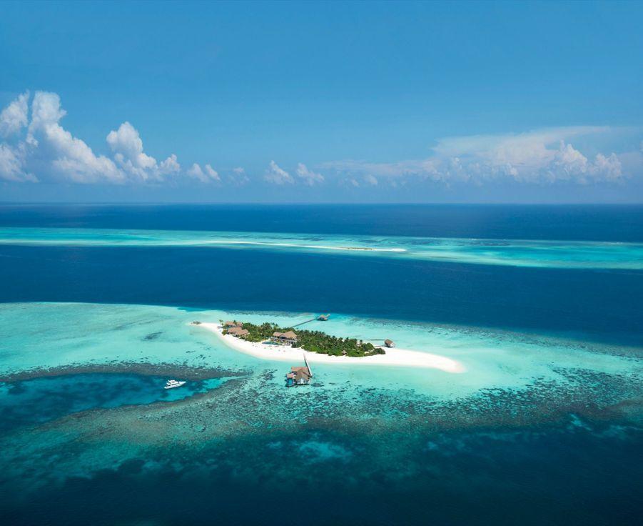 L'île privée du Four Seasons, à Voavah, au cœur de l'atoll de Baa.