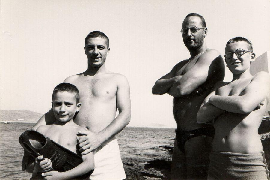 """Tournage du """"Grand Bleu"""". Marc Duret, Jean Reno, Gregory Forstner."""