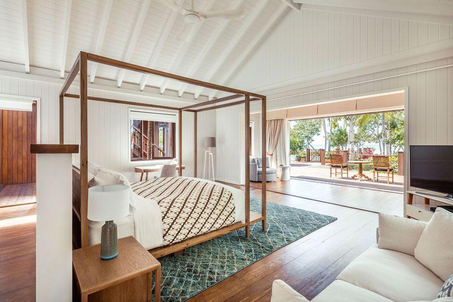 Une des chambres de The Residence, la villa de Bruce WIllas àl'hôtel Como Parrot Cay.