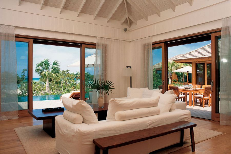 Le living room de Rocky Point, la villa de Keith Richards à l'hôtel Como Parrot Cay.